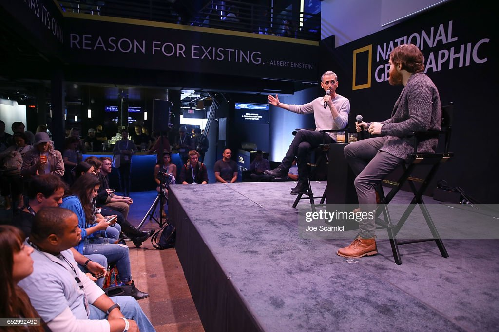 Steven Kotler and Seth Porges speak onstage during the 'Nat Geo Further Base Camp' At SXSW 2017 - Day 4 on March 13, 2017 in Austin, Texas.