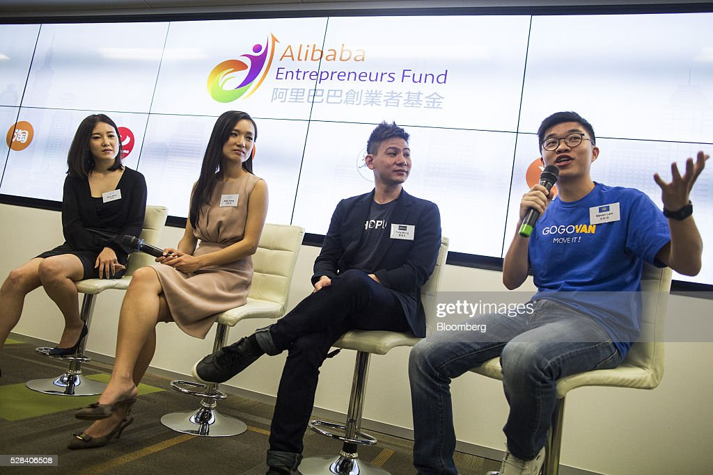 Steven Lam, chief executive officer of GoGoVan Ltd., right, speaks as Shan Shan, left, and Abby Zhang, second left, co-founders of online fashion-design service Yeechoo, and Tony Wong, chief executive officer of Shopline, second right, listen during a news conference in Hong Kong, China, on Thursday, May 5, 2016. Alibaba Group Holding Ltd.'s HK$1 billion fund for Hong Kong entrepreneurs is investing in GoGoVan, a hauling and delivery service that's one of the city's biggest startups, and other online services. Photographer: Justin Chin/Bloomberg via Getty Images