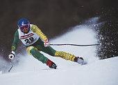 Steven Lee of Australia during the International Ski Federation Men's Super Giant Slalom at the FIS Alpine World Ski Championshipon 2 February 1987...