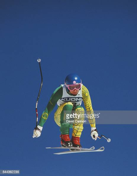 Steven Lee of Australia during the International Ski Federation Men's downhill at the Alpine Skiing World Cup event on 17 January 1987 in...