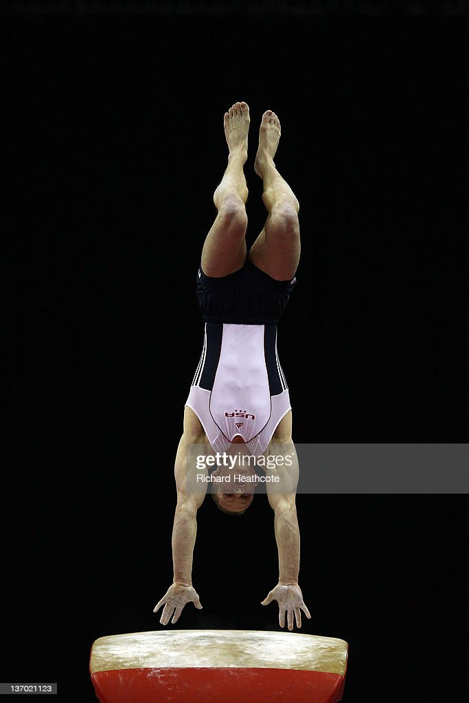 Steven Legendre of the USA in action during the Vault final at North Greenwich Arena on January 13, 2012 in London, England.