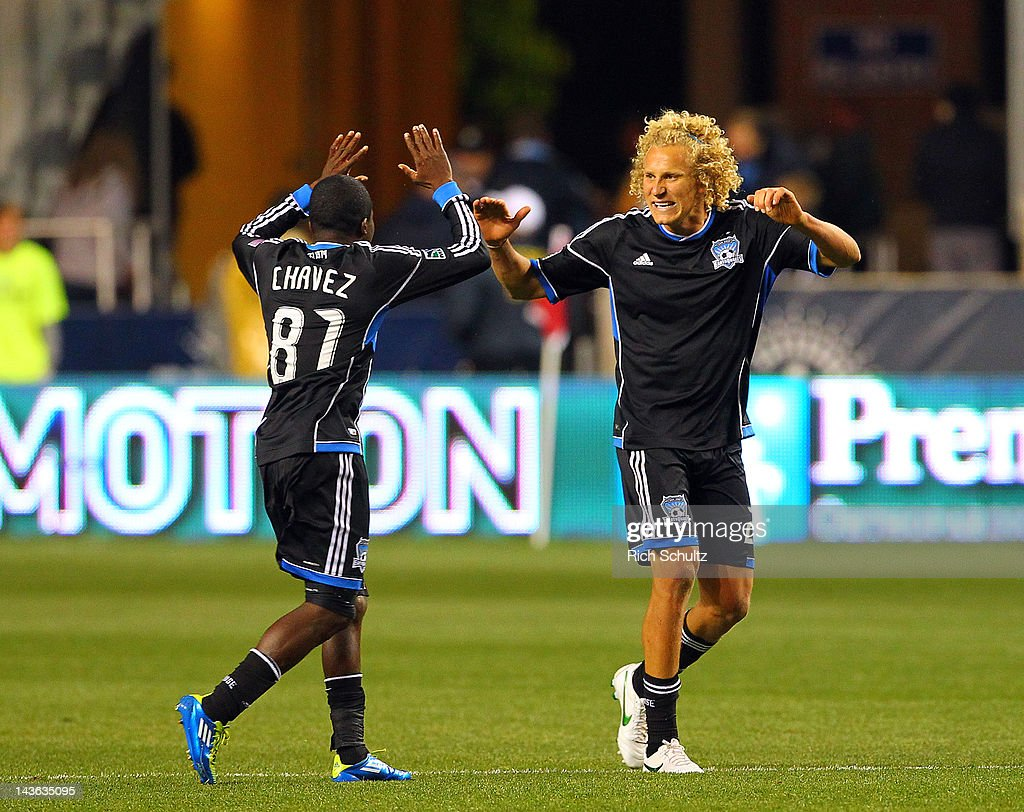 Steven Lenhart #24 of the San Jose Earthquakes celebrates with teammate Marvin Chavez #8, after Lenhart scored the first of his two goals during the second half against the Philadelphia Union in a Major League Soccer game on April 28, 2012 at PPL Park in Chester, Pennsylvania. San Jose defeated the Union 2-1.