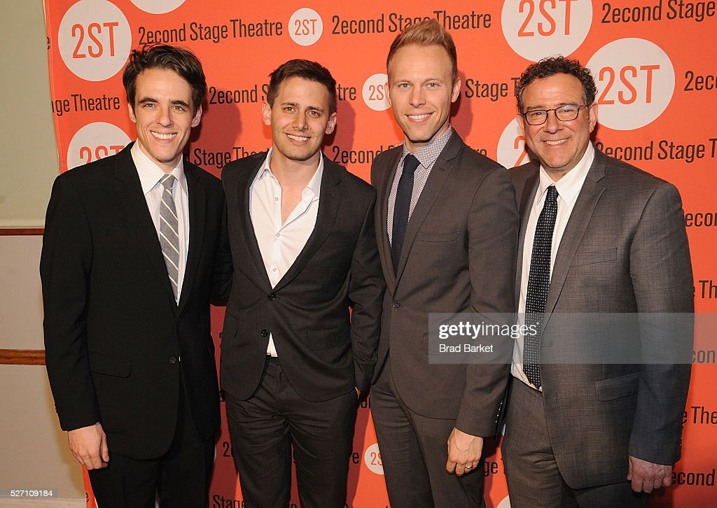 Steven Levisnon, <a gi-track='captionPersonalityLinkClicked' href=/galleries/search?phrase=Benj+Pasek&family=editorial&specificpeople=7992432 ng-click='$event.stopPropagation()'>Benj Pasek</a>, <a gi-track='captionPersonalityLinkClicked' href=/galleries/search?phrase=Justin+Paul&family=editorial&specificpeople=5389762 ng-click='$event.stopPropagation()'>Justin Paul</a> and <a gi-track='captionPersonalityLinkClicked' href=/galleries/search?phrase=Michael+Greif&family=editorial&specificpeople=559034 ng-click='$event.stopPropagation()'>Michael Greif</a> attend 'Dear Evan Hansen' Off-Broadway Opening Celebration - Party at John's Pizzeria on May 1, 2016 in New York City.