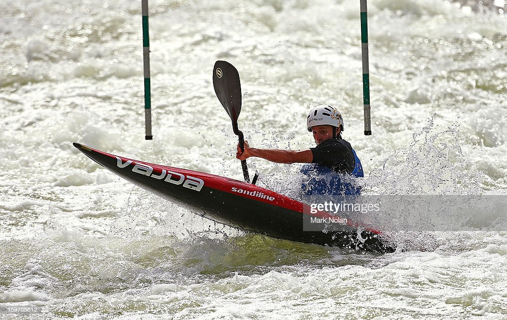 Steven Lowther of Australia competes in the Men's Kayak during day four of the Australian Youth Olympic Festival at the Penrith White Water Stadium on January 19, 2013 in Sydney, Australia.