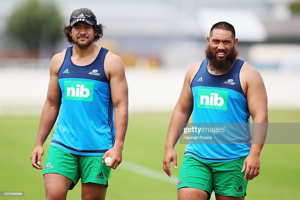Steven Luatua and Charlie Faumuina of the Blues look on during a Blues super rugby training session at Alexander Park on February 2 2016 in Auckland...