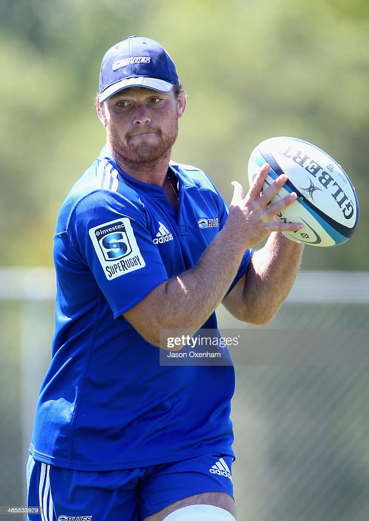 Steven Luatua during a Blues Super Rugby training session at Unitec on January 28, 2014 in Auckland, New Zealand.