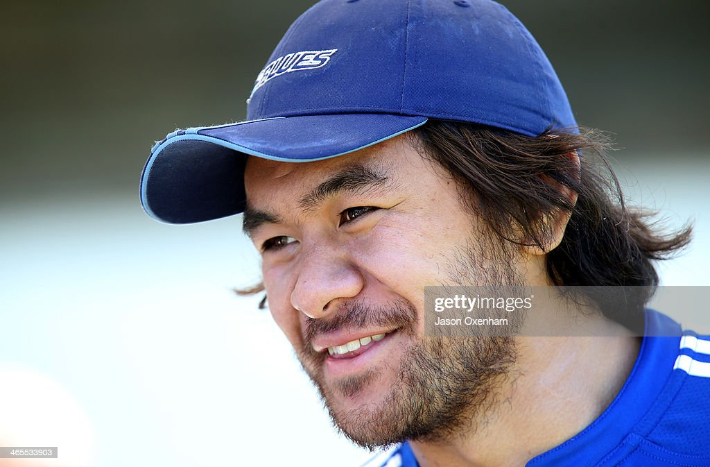 Steven Luatua during an Auckland Blues Super Rugby training session at Unitec on January 28, 2014 in Auckland, New Zealand.