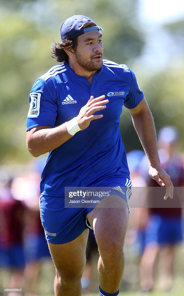 Steven Luatua during an Auckland Blues Super Rugby training session at Unitec on January 28 2014 in Auckland New Zealand