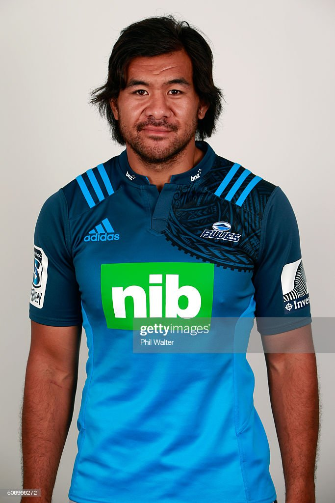 Steven Luatua during the Auckland Blues 2016 Super Rugby headshots session on January 27 2016 in Auckland New Zealand