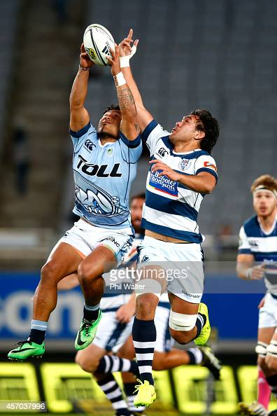 Steven Luatua of Auckland and Sonatane Takulua of Northland contest the high ball during the round nine ITM Cup match between Auckland and Northland...