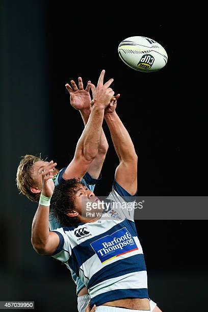 Steven Luatua of Auckland and Tom Murray of Northland contest the lineout during the round nine ITM Cup match between Auckland and Northland at Eden...
