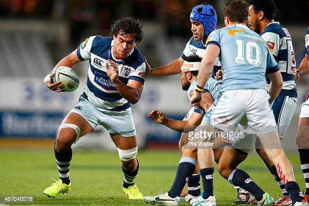 Steven Luatua of Auckland makes a break during the round nine ITM Cup match between Auckland and Northland at Eden Park on October 11 2014 in...