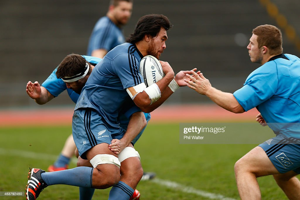 Steven Luatua of the All Blacks during a New Zealand All Blacks training session at Trusts Stadium on August 19 2014 in Auckland New Zealand