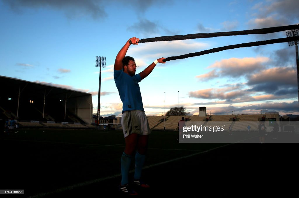 Steven Luatua of the All Blacks lifts a heavy rope during a New Zealand All Blacks training session at AMI Stadium on June 13, 2013 in Christchurch, New Zealand.