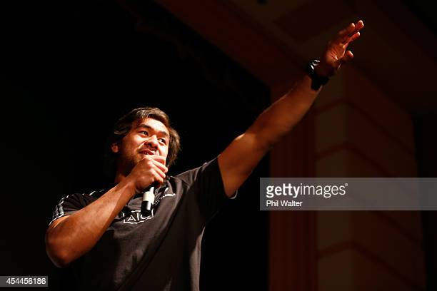 Steven Luatua of the All Blacks takes part in a New Zealand All Blacks community show at the Napier Municipal Theatre on September 1 2014 in Napier...