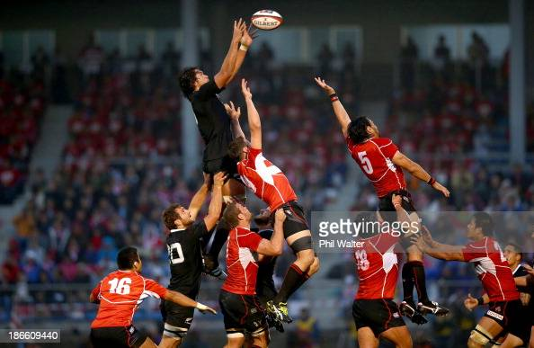 Steven Luatua of the All Blacks takes the ball in the lineout during the International Rugby Test Match between Japan and the New Zealand All Blacks...