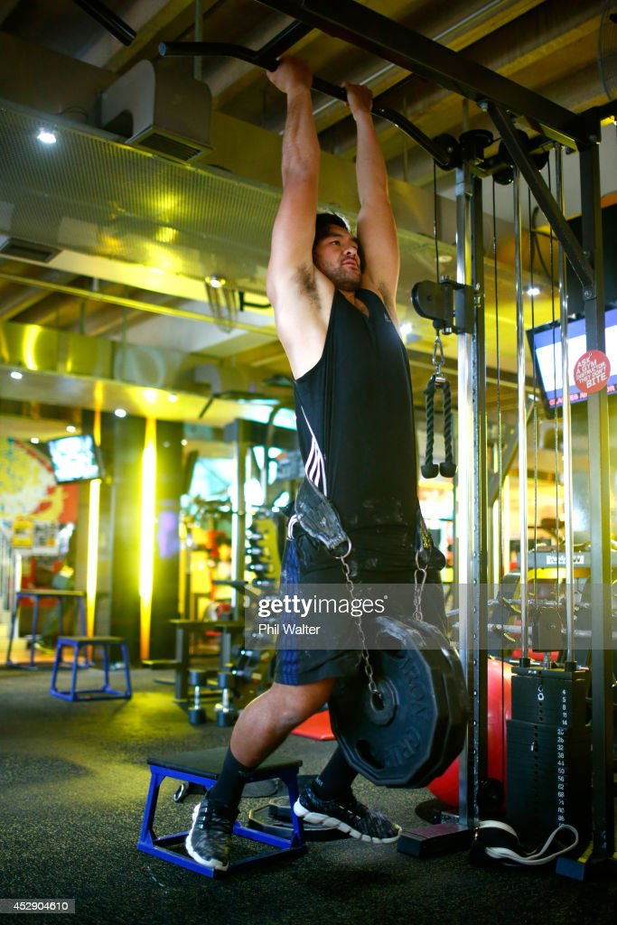 Steven Luatua of the All Blacks trains during a gym session at Les Mills Takapuna on July 30 2014 in Auckland New Zealand