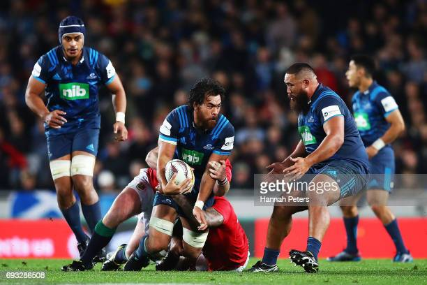 Steven Luatua of the Blues charges forward during the match between the Auckland Blues and the British Irish Lions at Eden Park on June 7 2017 in...