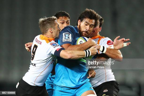Steven Luatua of the Blues charges forward during the round 12 Super Rugby match between the Blues and the Cheetahs at Eden Park on May 12 2017 in...