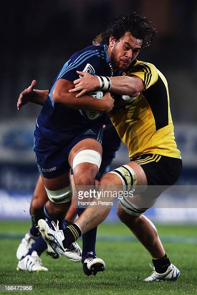 Steven Luatua of the Blues charges forward during the round nine Super Rugby match between the Blues and the Hurricanes at Eden Park on April 13 2013...