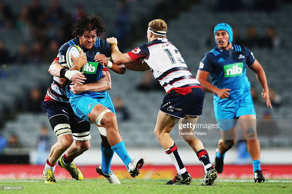 Steven Luatua of the Blues charges forward during the Super Rugby round ten match between the Blues and the Melbourne Rebels at Eden Park on April 30...
