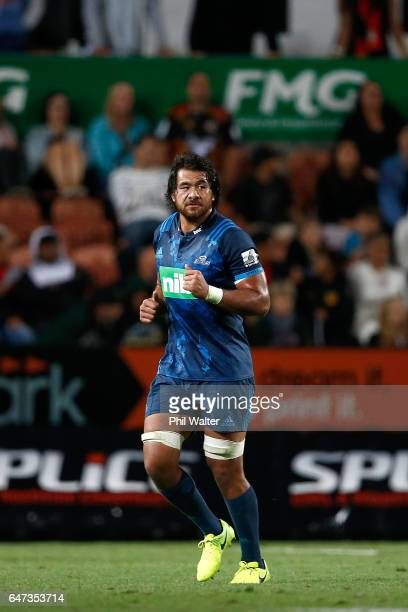 Steven Luatua of the Blues is red carded during the round two Super Rugby match between the Chiefs and the Blues at Rugby Park on March 3 2017 in...