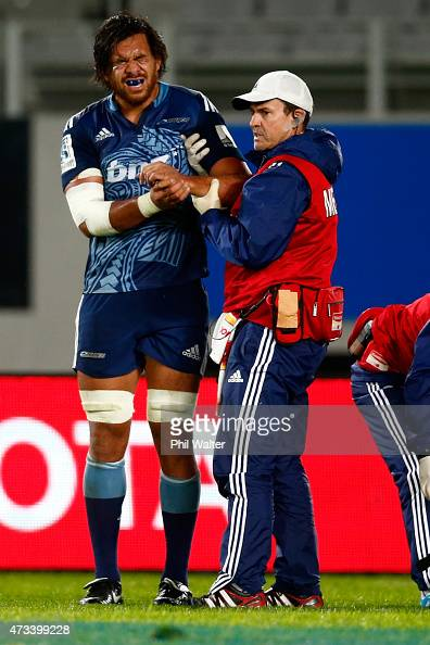 Steven Luatua of the Blues leaves the field injured during the round 14 Super Rugby match between the Blues and the Bulls at Eden Park on May 15 2015...