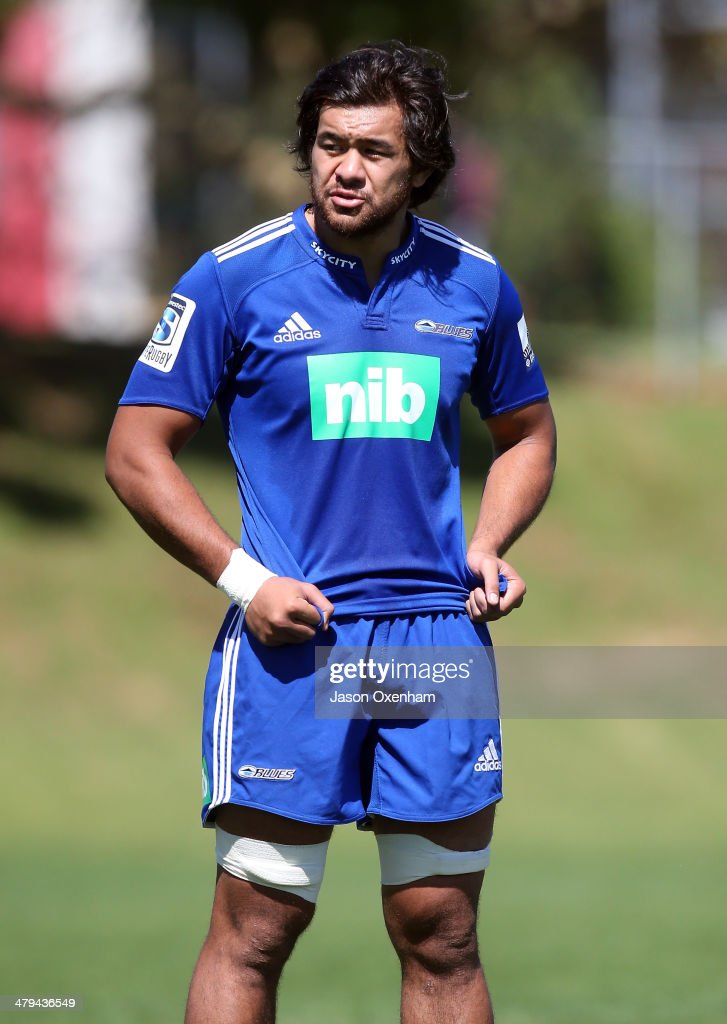 Steven Luatua of the Blues looks on during an Auckland Blues Super Rugby training session at Unitec on March 19 2014 in Auckland New Zealand