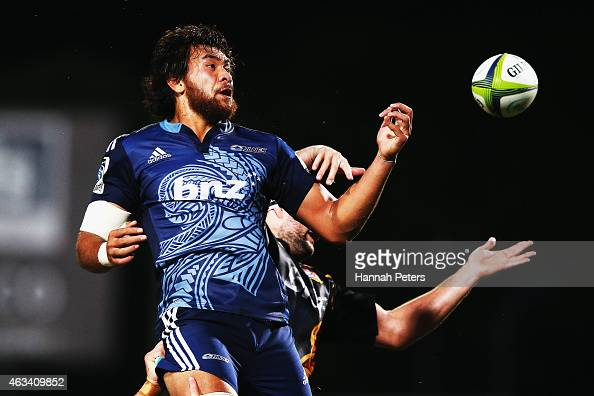 Steven Luatua of the Blues loses the lineout ball during the round one Super Rugby match between the Blues and the Chiefs at QBE Stadium on February...