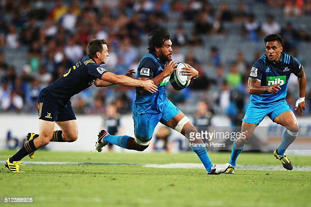 Steven Luatua of the Blues makes a break during the round one Super Rugby match between the Blues and the Highlanders at Eden Park on February 26...