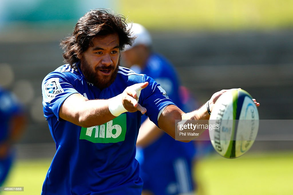 Steven Luatua of the Blues passes during a Blues Training Session at Unitec on March 11 2015 in Auckland New Zealand