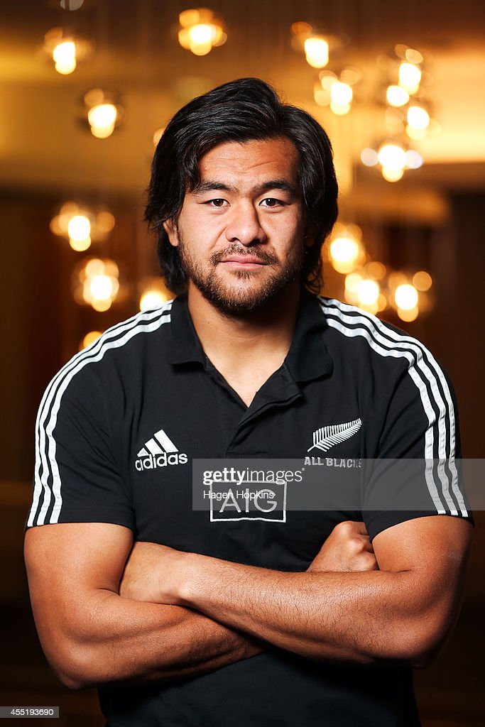 <a gi-track='captionPersonalityLinkClicked' href=/galleries/search?phrase=Steven+Luatua&family=editorial&specificpeople=6164979 ng-click='$event.stopPropagation()'>Steven Luatua</a> poses during a New Zealand All Blacks media session on September 11, 2014 in Wellington, New Zealand.