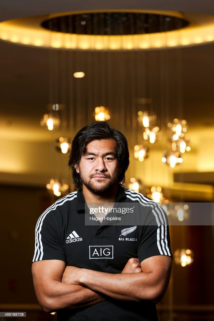 Steven Luatua poses during a New Zealand All Blacks media session on September 11 2014 in Wellington New Zealand
