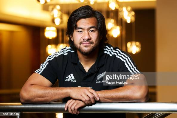 Steven Luatua poses during a New Zealand All Blacks media session on September 11 2014 in Wellington New Zealand