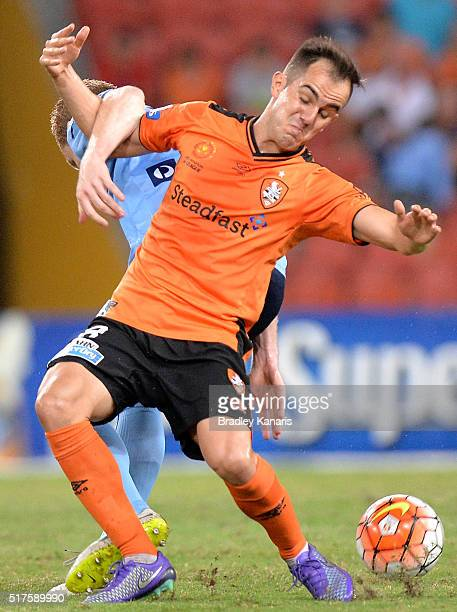 Steven Lustica of the Roar and Brandon O'Neill of Sydney challenge for the ball during the round 25 ALeague match between the Brisbane Roar and...