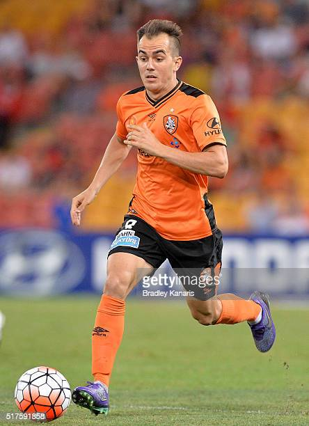 Steven Lustica of the Roar in action during the round 25 ALeague match between the Brisbane Roar and Sydney FC at Suncorp Stadium on March 26 2016 in...