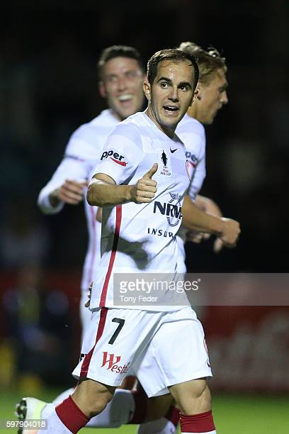 Steven Lustica of the Wanderers celebrates a goal during the FFA Cup ROUnd of 16 match between Edgeworth FC and the Western Sydney Wanderers at Magic...