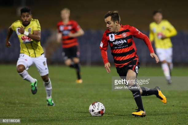 Steven Lustica of the Wanderers contols the ball during the FFA Cup round of 32 match between the Western Sydney Wanderers and the Wellington Phoenix...