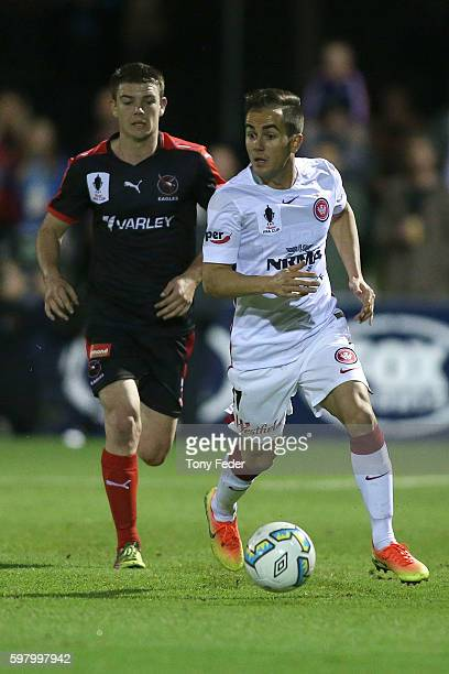 Steven Lustica of the Wanderers controls the ball during the FFA Cup ROUnd of 16 match between Edgeworth FC and the Western Sydney Wanderers at Magic...
