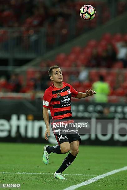 Steven Lustica of the Wanderers controls the ball during the round four ALeague match between the Western Sydney Wanderers and the Central Coast...