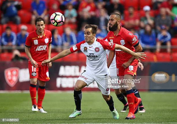 Steven Lustica of the Wanderers wins the ball during the round two ALeague match between Adelaide United and the Western Sydney Wanderers at Coopers...