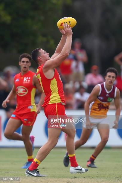 Steven May of the Suns in action during the 2017 JLT Community Series match at Broadbeach Sports Centre on February 19 2017 in Gold Coast Australia