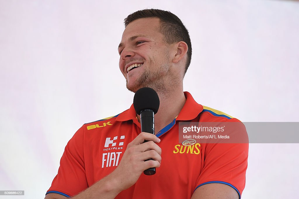 Steven May speaks on stage during the Gold Coast Suns AFL open day at Metricon Stadium on February 13, 2016 on the Gold Coast, Australia.