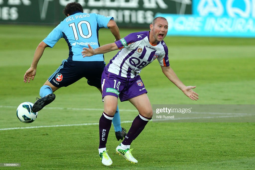 Steven McGarry calls for a free-kick during the round 15 A-League match between the Perth Glory and Sydney FC at nib Stadium on January 5, 2013 in Perth, Australia.