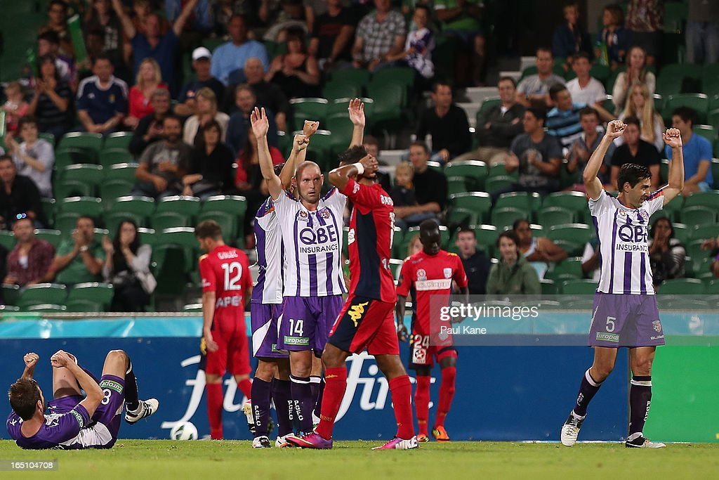 Steven McGarry of the Glory celebrates winning the round twenty seven A-League match between Perth Glory and Adelaide United at nib Stadium on March 30, 2013 in Perth, Australia.