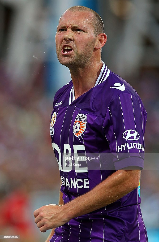 Steven McGarry of the Glory shouts to the assistant referee during the round 14 A-League match between Perth Glory and the Melbourne Heart at nib Stadium on January 10, 2014 in Perth, Australia.