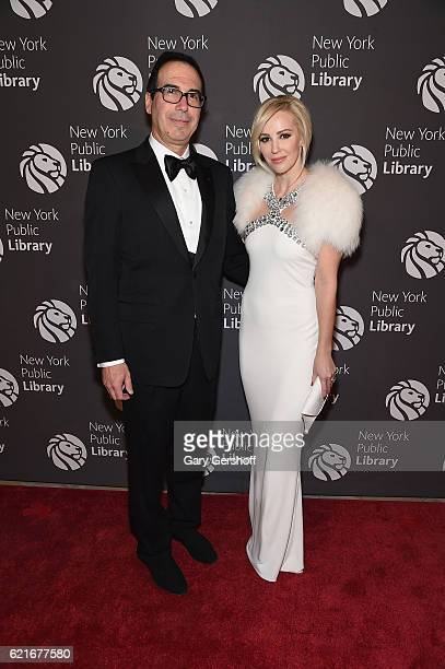 Steven Mnuchin and Louise Linton attend the 2016 Library Lions Gala at New York Public Library Stephen A Schwartzman Building on November 7 2016 in...