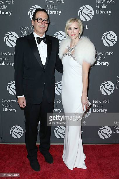 Steven Mnuchin and Louise Linton attends 2016 Library Lions Gala at New York Public Library Stephen A Schwartzman Building on November 7 2016 in New...