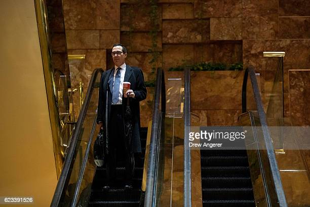 Steven Mnuchin finance chairman for the Trump campaign arrives at Trump Tower November 15 2016 in New York City Presidentelect Donald Trump is in the...