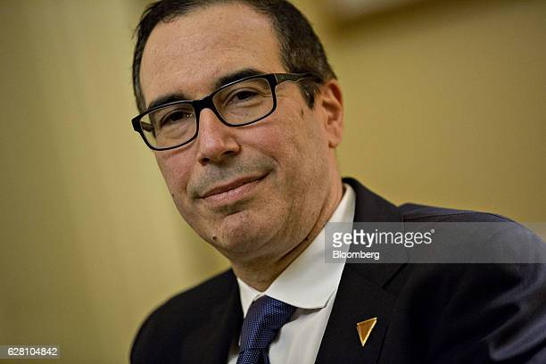 Steven Mnuchin Treasury secretary nominee for presidentelect Donald Trump sits while meeting with Senate Majority Leader Mitch McConnell a Republican...